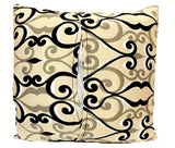 16x16 Biege Black Pattern Envelope Pillow Cover Handmade In Canada.