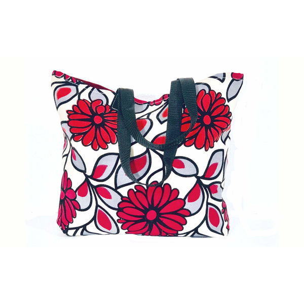 Red White Floral Shopping Tote Bag Handmade In Canada.