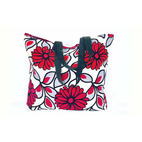 Red White Floral Shopping Tote Bag
