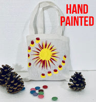 Yellow Sun Hand Painted Cotton Canvas Tote Bag.