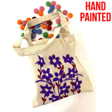 Purple Red Flowers Hand Painted Cotton Canvas Tote Bag.