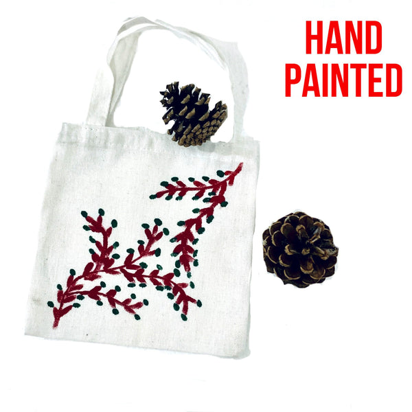 Red Branch Green Leaves Hand Painted Cotton Canvas Tote Bag.