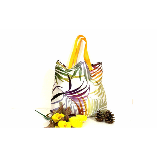 Yellow White Shopping Tote Bag Handmade In Canada.