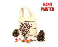 Red Tree Hand Painted Cotton Canvas Tote Bag.