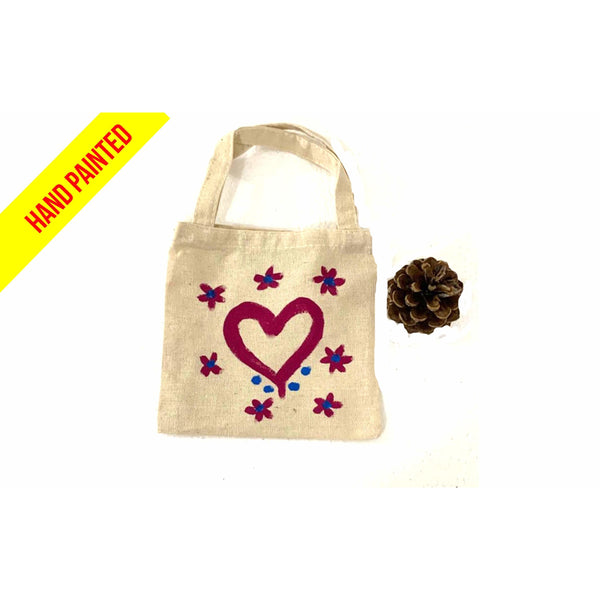 Pink Heart Hand Painted Canvas Tote Bag
