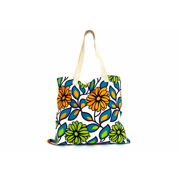 Blue Green Orange Floral Shopping Bag Handmade In Canada.