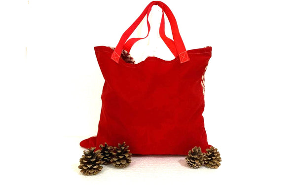 Red White Geometric Shopping Bag