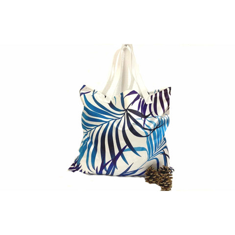 Blue White Tropical Beach Leaves Shopping Tote Bag