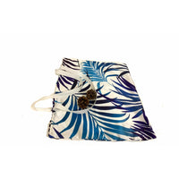 Blue White Tropical Beach Leaves Shopping Tote Bag Handmade In Canada.