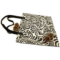Black White Shopping Bag Handmade In Canada.