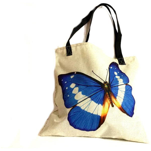Blue Butterfly Shopping Tote Bag Handmade In Canada.