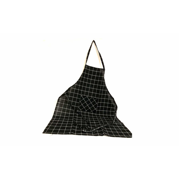 Black White Full Kitchen Cooking Apron with Pocket - SonalCreativeSoul
