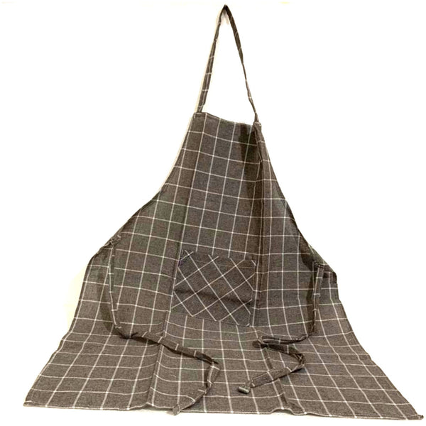 Dark Gray White Full Kitchen Apron with Pocket.