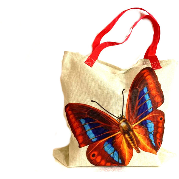 Red Butterfly Shopping Tote Bag Handmade In Canada.