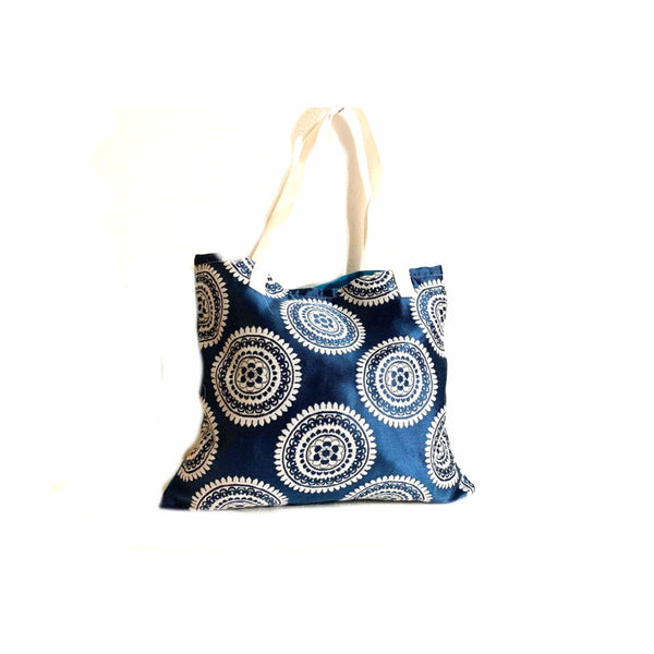 Blue White Festive Shopping Bag Handmade In Canada.