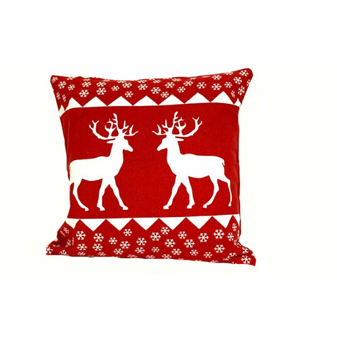 18x18 Holiday Red White Decorative Reindeer Pillow Cover