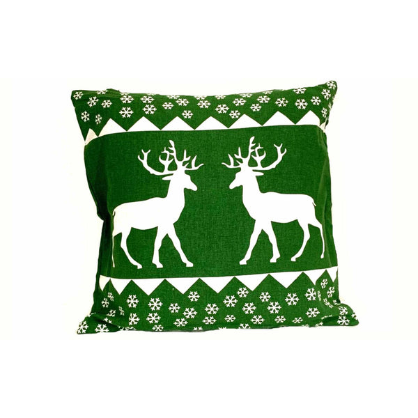 18x18 Green White Decorative Holiday Reindeer Pillow Cover.