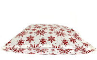 18x18 Red White Christmas Winter Snowflakes Zipper Pillow Cover.