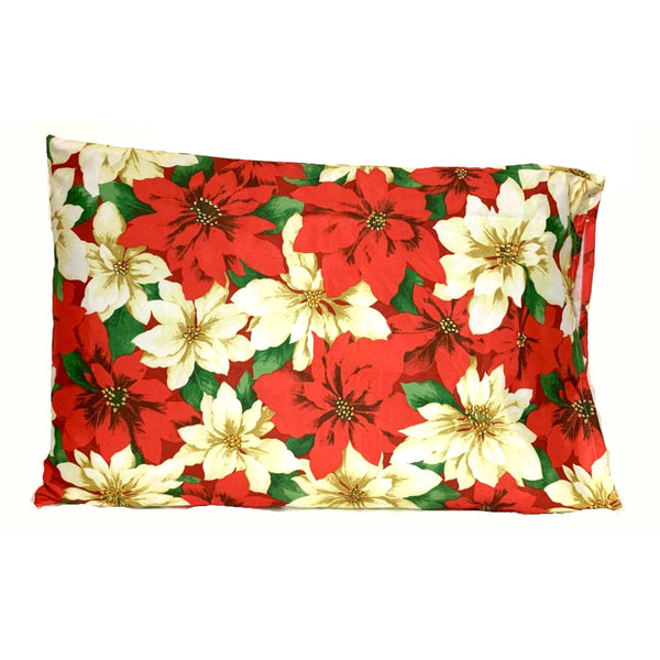 Red Green Christmas Holiday Flowers 20x30 Pillowcase Set of Two Pillowcases.