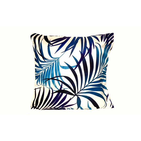 18x18 Blue Beach Tropical Leaves Zipper Pillow Cover - SonalCreativeSoul
