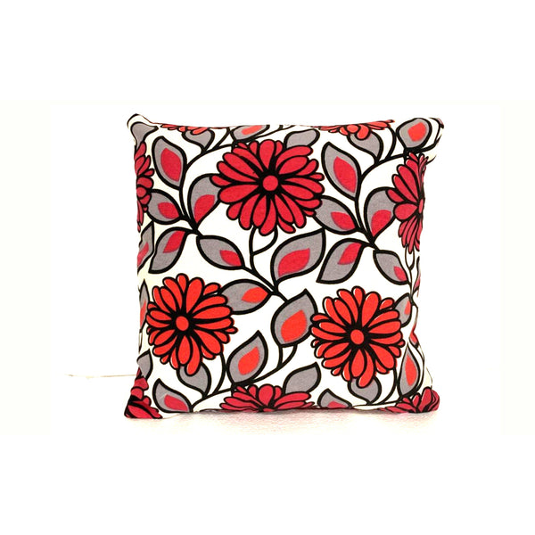 18x18 White Gray Red flowers Zipper Pillow Cover