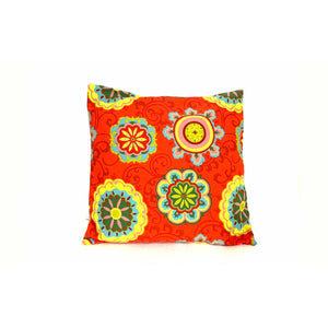 18x18 Red Yellow Pillow Floral Envelope Cover