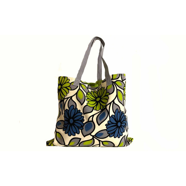 Green Blue Shopping Tote Bag Handmade In Canada.