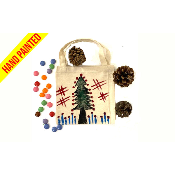 Green Christmas Tree Hand Painted Canvas Tote Bag