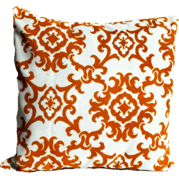 18x18 Orange White Floral Envelope Pillow Cover.
