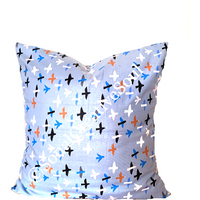 16x16 Blue Abstract Bird Print  Envelope Pillow Cover.