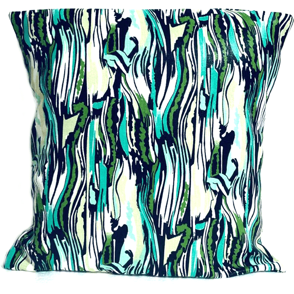 18x18 Turquoise Green White Envelope Pillow Cover.
