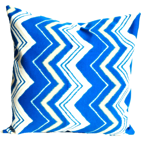 Blue Yellow Zig Zag Pattern Envelope Pillow Cover