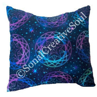 14x14 Blue Purple Green Space Circles Print Envelope Pillow Cover.
