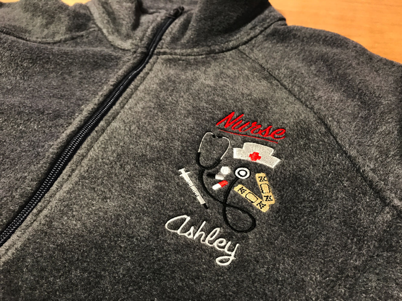 Custom Embroidered Full Zip Fleece w/ Nurse Cap and more