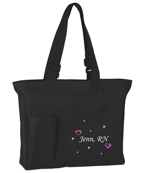 Custom Embroidered Bling Tote w/ Swarovski Crystals & Birthstone