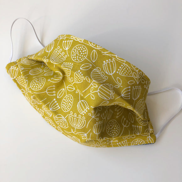 Mustard floral abstract pleated face mask