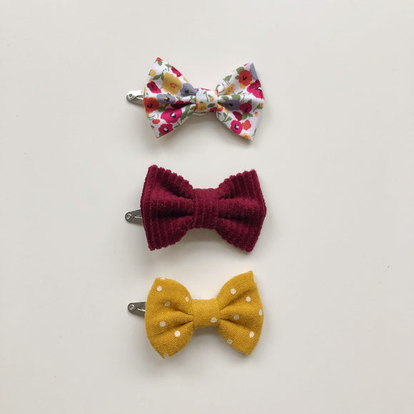 Trio of red floral, wine red cord and mustard hair bows - clips, bobbles or headbands