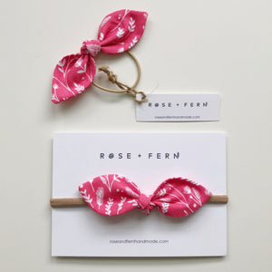 Pink wheat fields knot hair bow