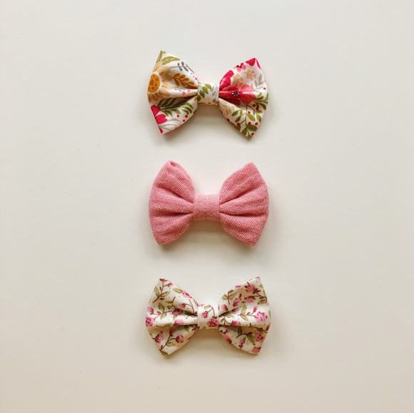 Trio of pink classic hair bows - clips, bobbles or headbands