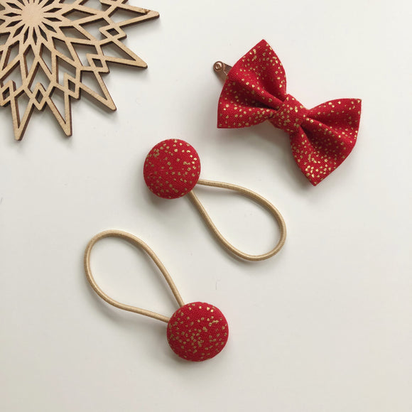 Red and gold sparkle bow clip and button bobble set