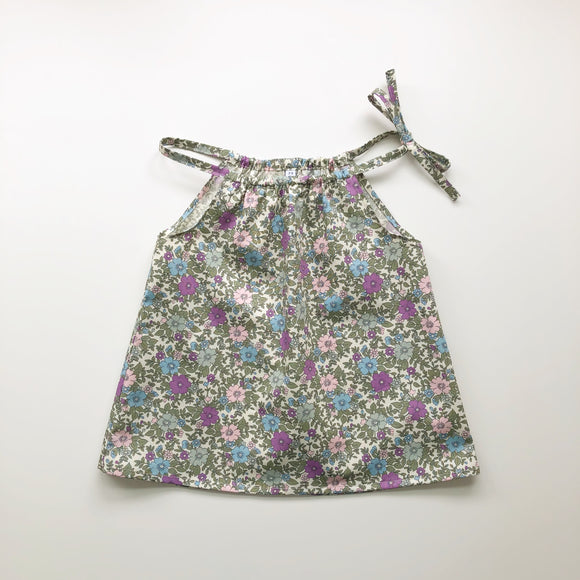 Summer floral print tie neck top - 2-3years