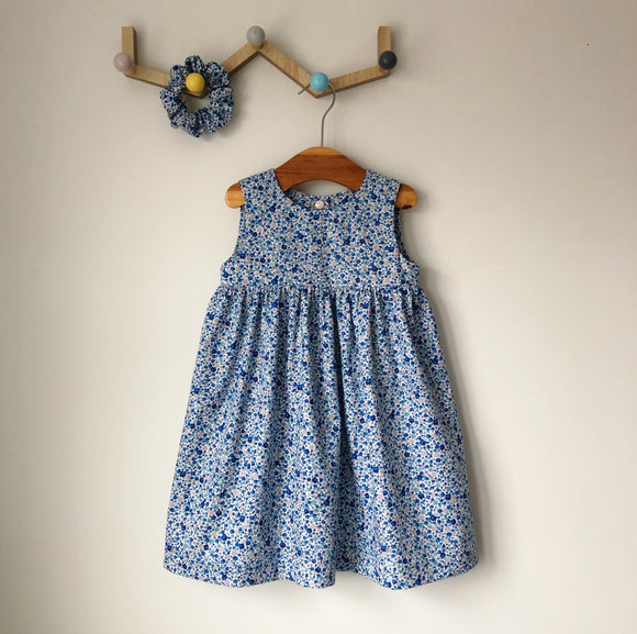 Blue ditsy floral handmade dress
