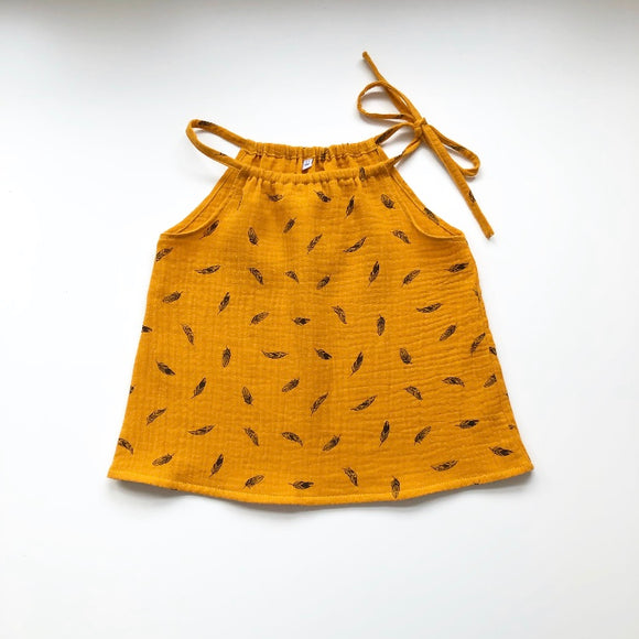 Mustard feather print tie neck top, 4-5 years