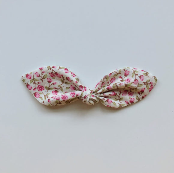 Pink ditsy floral print knot hair bow - headband or bobble