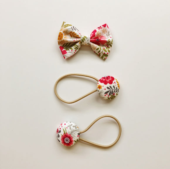 Summer burst floral classic hair bow and button bobble set