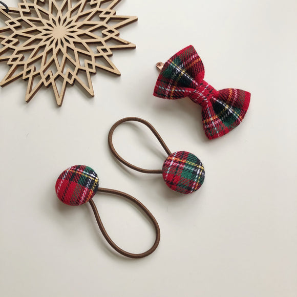 Red tartan bow clip and button bobble set