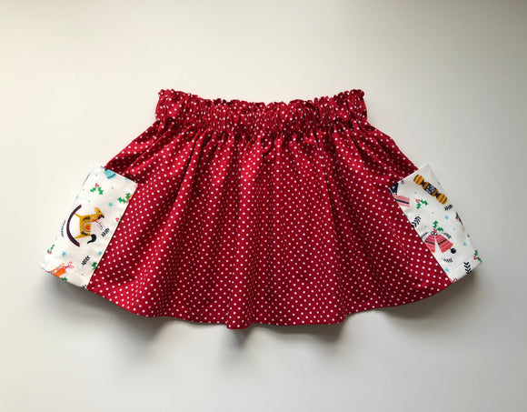 Red spot Christmas print skirt with pockets