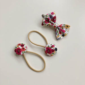 Red wildflower bow clip and button bobble set
