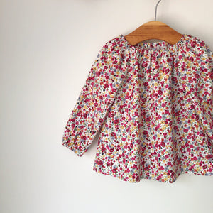 Red wildflower long sleeve blouse