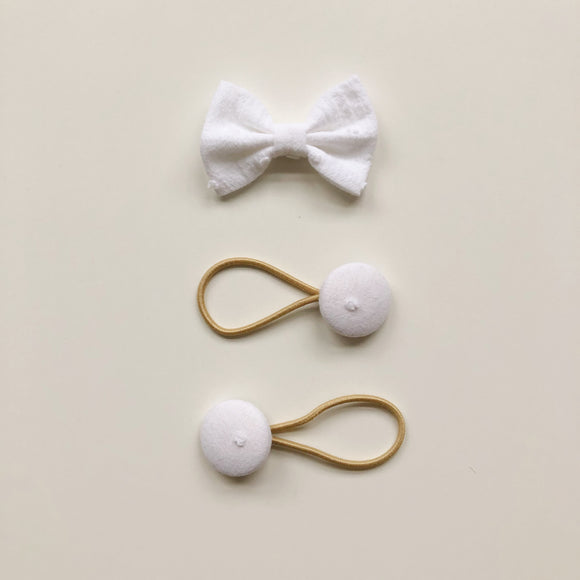 White Swiss dot bow clip and button bobble set